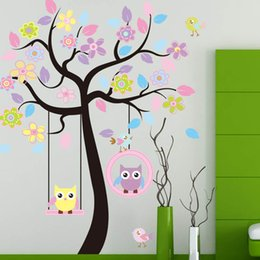Wholesale Tree Swing Wall Decal - 2014 New Nursery Kids Owl Swing Tree Wall Art Room Decor Removable Decal StickerFree shipping