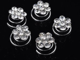 Wholesale Spin Pin Hair Clips - 12X Bridal jewelry Clear Crystal Flower silver p Hair Twists spins clips pin