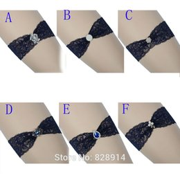 Wholesale Blue Wedding Garter Belt - New Arrival Original Design Navy Blue Wedding Lace Garter Sexy Fashion Women Bride Leg Garter Belt Handmade HY070