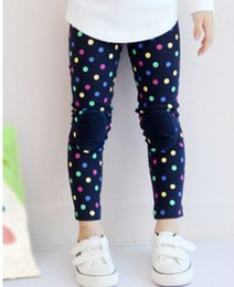 Wholesale Colorful Leggings For Girls - Free shipping 5 pc lot 2014 Autumn New Colorful DOT Patch Girl's Leggings   Legging For Kids Wear Garment
