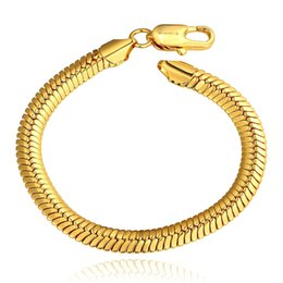 Wholesale Middle Eastern Food - 2015 new Men's Jewelry Thick Snake chains 10mm 18K Golden 8'' 20cm bracelets bangles B084