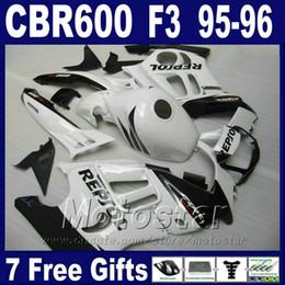 Plásticos para motos on-line-Placas de plástico ABS 7Gifts para HONDA CBR 600 F3 95 96 branco cbr600 f3 1995 1996 kit de carenagem de motobike VN1J