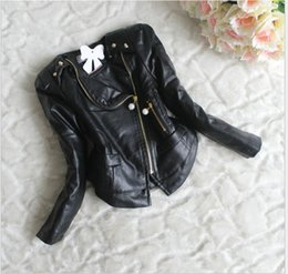 Wholesale American Baby Girls Leather Coats - 2016 New Arrival Girls PU Leather Long Sleeve Jacket Tops Kids Zipper Lace Stitching Outwear Children Clothing Child Clothes Baby Coat 3-6T