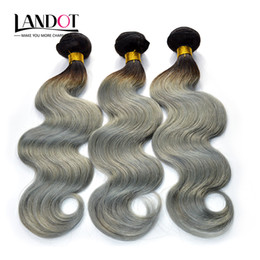 Wholesale Ombre Virgin Hair Extensions - Ombre Silver Grey Human Hair Extensions Two Tone 1B Grey Brazilian Peruvian Malaysian Indian Cambodian Body Wave Virgin Hair Weave Bundles