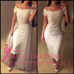 tulle detachable jacket Coupons - Sexy White Evening Dresses Long Arabic Prom Formal Gowns with Detachable Train 2019 Occasion Dress A-Line Off-Shoulder Celebrity Custom Made