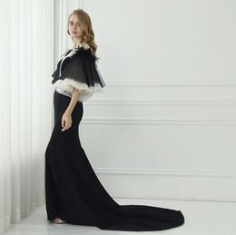 Wholesale Long Sleeved Formal Dresses - Black Mermaid Long Sleeve Evening Dresses New Special Design Poet Sleeved Formal Evening Gown Arbaic Dresses Evening Plus Size