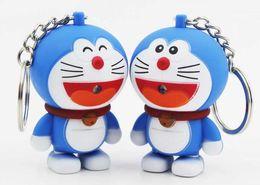 Wholesale Charm Sound - Doraemon A dream cat phone straps key buckle accessories LED luminous sound keychain Children's Day gift