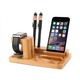Wholesale Wood Ipad Holder - New Arrival Real Bamboo Wood Stand for Apple Watch Stand Holder Charging Dock for iPad Tablet Apple Watch stand holder 38mm   42m DHL