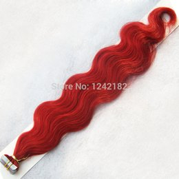 Wholesale Pu Process - Christmas Big Promotion! #Red Malaysian Tape Hair Silky Body Wave PU Hair Skin Weft Hair Extensions non-processed 6A Virgin Hair