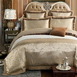 Wholesale Luxury King Bedding Set Gold - Wholesale-Home Textile bedding gold luxury silk Jacquard designer's beddings set wedding decoration bed sheet duvet cover set king queen