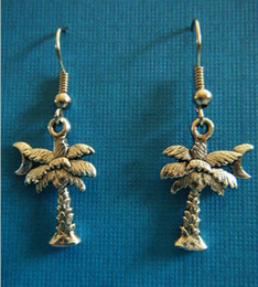 Wholesale Earrings Vintage Flower Drop - Fashion 50Pair Vintage Silvers MOON & PALM TREES Charms Pendants Drop Earrings DIY Jewelry Handcrafted Free Shipping P715