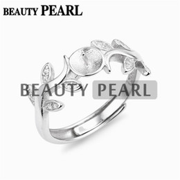 Wholesale Base Blank - 5 Pieces Leaves Ring Pearl Jewelry Findings Zircon 925 Sterling Silver Ring Blanks Base DIY Settings