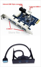 Wholesale Express Card Drive - Wholesale-On sale 7 ports USB3.0 PCI express Card PCIe 7 USB3.0 + USB 20pin header to dual USB3.0 Front Panel Floppy Drive Bay mounting