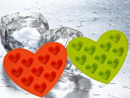 Wholesale Lovers Molds - Lover heart shape silicone cake molds 10 cups muffin pan Silicone Trellis Molds Ice Cube Tray Ice Mould Valentine's Day Gift 5 color