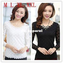 Wholesale Shirts Flouncing Blouse - M L XL XXL Women's Tops Lace Chiffon Blouses Flounced Hem-Neck Long Sleeve Blusas Plus Size Flounced Hem Shirts Female Blouses