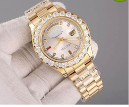 Wholesale Mens 18k Watch Diamond - Fashion New Luxury AAA watches Day Date 18K Gold Automatic Movement Men's Watch Diamond Bezel stainless steel Mechanical Mens Wristwatches