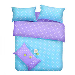 Wholesale Western Queen Bedding - Purple blue dots bedding sets polka dot full double queen size quilt duvet cover bed sheet bedspreads linen bedsheet cotton 4pcs western