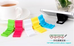 Wholesale Fold Mobile Phones - 5000pcs phone holder bracket creative mini plastic folding lazy support mobile phone universal bracket for Iphone best gift for customer