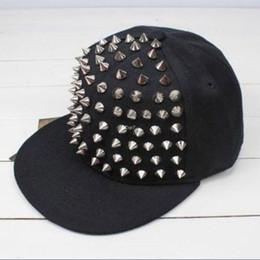 Wholesale Wholesale Spiky Caps - 2016 Amazing HOT Unisex Punk Hedgehog Rock Hip Hop Silver Rivet Stud Spike Spiky Hat Cap Baseball Cap