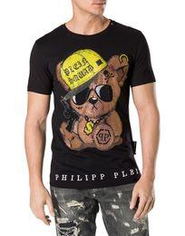Wholesale T Bear - Bear Printing T-shirt 2018 Spring New poloshirt shirt men luxury brand Diamond Short Sleeve designer Shirt Casual Polos Shirts 18736