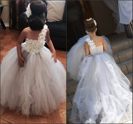 Wholesale Toddlers Bridesmaid Dresses - One Shoulder Gorgeous Dresses for Toddler 2016 Hand Made Flowers Tiers Tulle Court Train Kids Pageant Gowns Junior Bridesmaid Dresses BA1410