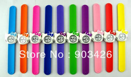 Wholesale Shell Bracelet Kids - Free shipping!500pcs lot Hello Kitty Silicone Slap Watch For Kids Rubber Jelly Digital Wristwatch Snap Bracelet G2534 Wholesale 1219#19