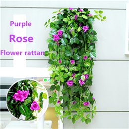 Wholesale Artifical Vines - Hot rose rattan hanging basket Simulation flower 6 color artifical real look decorative flower for weeding bedroom