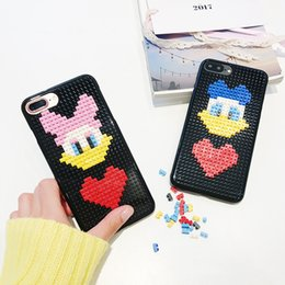 Wholesale Iphone Block - For Iphone 7 7Plus 6 6s 6 6sPlus Mobile Phone Case Lovers Duck Building Blocks DIY Phone Shell Hard Cover Silicone Phone Sets