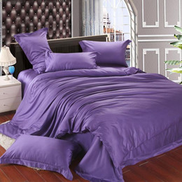 Wholesale Violet Bedding Sets - Luxury violet tencel duvet cover bedding sets purple silk queen king size double bed in a bag sheets linen quilt doona bedsheets bedcover