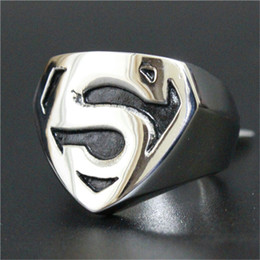 Wholesale African Movies Free - 1pc Free Shipping New Superman Hero Ring 316L Stainless Steel Man Boy Fashion Personal Design Movie Hero Ring