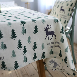 Wholesale Green Christmas Tablecloth - Cotton linen Christmas Table Cloth Pastoral Green Tree And Elk 60x60-140x250cm Manteles Tablecloths Rectangular Tablecloth Table Cover