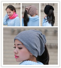 Wholesale Knit Scarf Models - Cotton knit cap Korean New Style Winter Hats For Unisex Both uses Scarf Fashion Thick Warm Cap (Thick and thin two models)