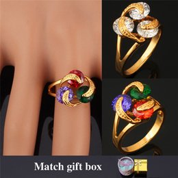 Wholesale Jewelry Brand Ring Box - 18K Real Gold Plated Rings For Women Fashion Jewelry Brand Cubic Zirconia Stone Wedding Rings With Gift Box Wholesale MGC R255