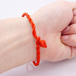 Wholesale Red Bracelet Thread - Red Thread Amulet Jewelry for Female Fashion Chinese Red Luck Rope Cord String Bracelet Bangle Friendship 20cm