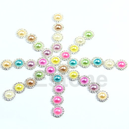 Wholesale Buttons Sewing Pearls - Wholesale-F85 Free Shipping 20pcs lot Rhinestone Pearl DIY Round Button Sewing Craft Wedding Embellishment