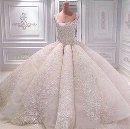 Wholesale Tulle Appliques Beads Handmade Flowers - 2018 Luxury Lace Ball Gown Wedding Dresses With Square Neckline Court Train Pearls Handmade Flowers Crystals Elegant Bridal Gowns