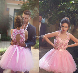 Wholesale Two Piece Cute Short Dresses - Cute Pink Short Prom Dresses Ball Gown Tulle Handmade Flower Bead Backless Halter Mini 2016 Cheap 8th Grade Homecoming Wedding Party Dresses