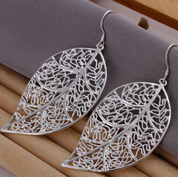 Wholesale Sterling Silver Drop Earings - Hollow leaf 925 sterling silver female fashion big earings Jewelry crystal Drop earrings trendy women earrings Free shipping