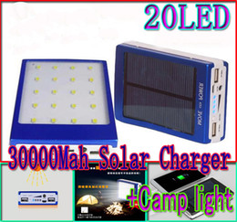Wholesale Solar Light Mobile Charger - 30000mah solar 20led camping light charger 20 led 30000 mah power bank camp lights Dual USB battery Paergy chargers SOS help For Mobile