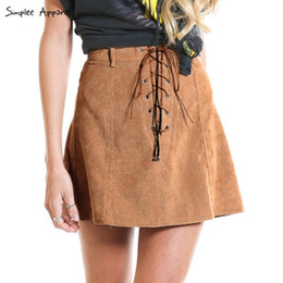 Wholesale Girls Leather Mini Skirts - Simplee Apparel Vintage lace up high waist women skirt school girl Brown skirt Autumn a line mini faux leather suede short skirt