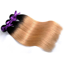 Wholesale Honey Blonde Indian Remy Hair - 1b 27 Blonde Bundles Straight Ombre Human Hair Extensions Thick Weave 3 or 4 Bundles Remy Hair Shining Star Peruvian Hair Honey Blonde