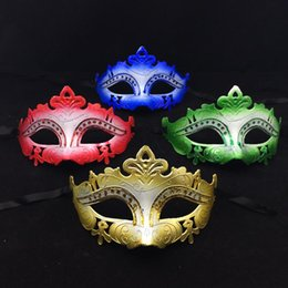 Wholesale Wedding Crown Color - Crown Party Masks Gold Princess Half Face Mask Venetian Masquerade Mask Halloween Costume Gold Red Green Blue color free shipping