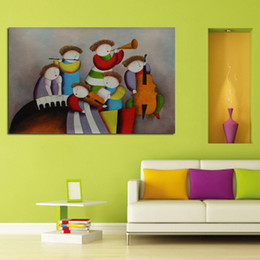 Mostrar pinturas online-Nueva Pinturas al óleo decorativas pintadas a mano Cuadros del arte Alta calidad Concierto Jugar Mostrar pegatinas de pared sobre lienzo para la decoración del hogar