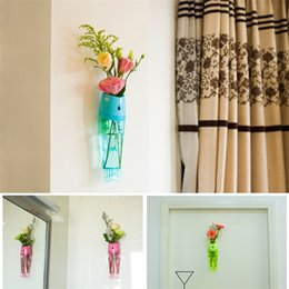 Wholesale hanging wall vases - Fish Shaped Vase Wall Hanging Type Plastic Flower Vases For Home Living Room Decor For Multi Colors 6bq C