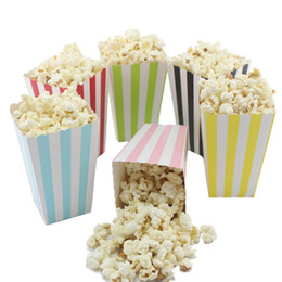 Wholesale Paper Popcorn Boxes - Wholesale Mini Party Paper Popcorn Boxes Candy Sanck Favor Bags Wedding Birthday Movie Party Supplies 7 Colors