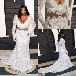 Wholesale Backless Lace V Neck - Full Lace Mermaid Evening Dresses Plus Size Long Sleeves Sheer V neck Chapel Train Backless Sexy Prom Gowns Red Carpet Party Gowns