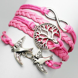 Wholesale Pink Infinity Rope Bracelet - Wholesale-Fashion Handcrafted Pink Braid PU Leather Alloy Metal Tree Infinity Little Peace Birds Multilayer Rope Best Friend Bracelet