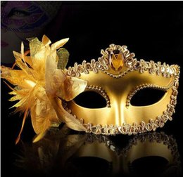 Wholesale Gold Masquerade Masks Flowers - 2017 Flower Side Venetian Masquerade Masks Sequins Halloween Ball Party Fancy Gold Cloth Coated Valentine Day Birthday Christmas Hot Sale