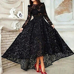 Wholesale Sexy Champagne - Vestido 2015 Black Long A Line Elegant Prom Evening Dress Crew Neck Long Sleeve Lace Hi Lo Party Gown Special Occasion Dresses Evening Gown