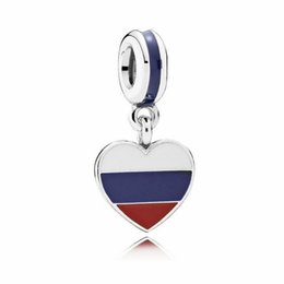 Wholesale Russian Silver Jewelry - 2017 new colour enamel love heart the Russian flag dangle charm 925 sterling silver pendant jewelry fits Pandora bracelet DIY Making HB572